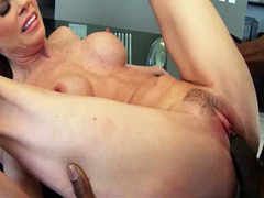 Hot MILF deepthroats gags and gets banged by a black cock 26