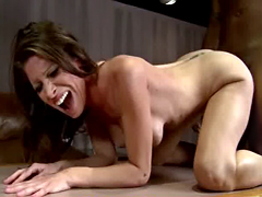 Hot MILF deepthroats gags and gets banged by a black cock 20