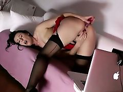 Classy mature stocking babe sucks cock