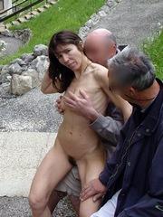 Slender brunette mature lady..