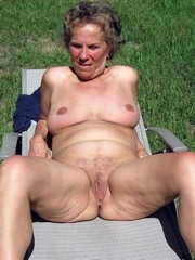 Curly granny on the nature , outdoor