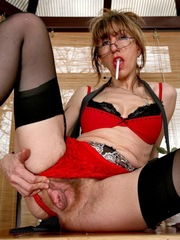Perky older mom shows her..
