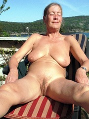 Grandmother with flabby and wrinkled boobs
