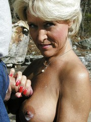 Glamour grandma gets cum on saggy tits