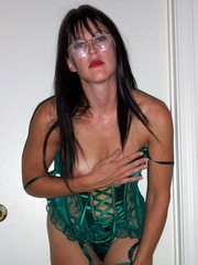 Brunette woman dressed sexy, looks a hot