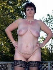 Chubby mom has big saggy tits
