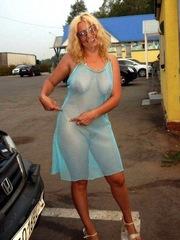 Luscious blonde mom dressed..