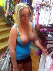Blonde elderly mom has a big boobs