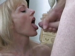 Mature amateur doused with cum