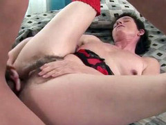 Hairy old lady screwed by his throbbing erection