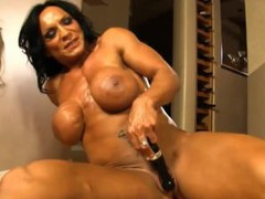 Sexy muscle babe rhonda flexes more than just her muscles
