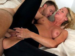 Small tits blonde MILF spoon fucked by Levi Cash