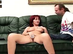 Horny redhead MILF fingered by old handicapped perv