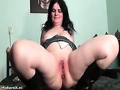 Horny busty brunette spreading egs part1