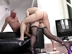 Anal threesome for mature British lady