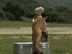 Beautiful Lesbians Bathing Together Outside
