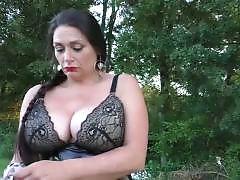Mature Emma gets 2 cocks outdoor