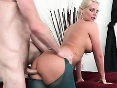 Big ass MILF humping massive shaft on sofa