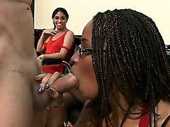 Ebony blowjob amateur gets facial at cfnm party