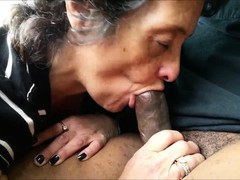 Granny licking at a meatstick that is lenghty