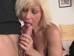 Sexy blonde granny gets plowed by a young stud